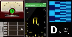 Three guitar tuner apps