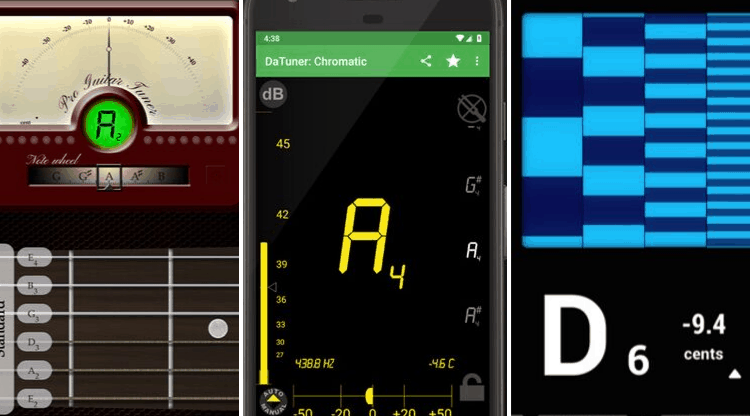 Three guitar tuner apps
